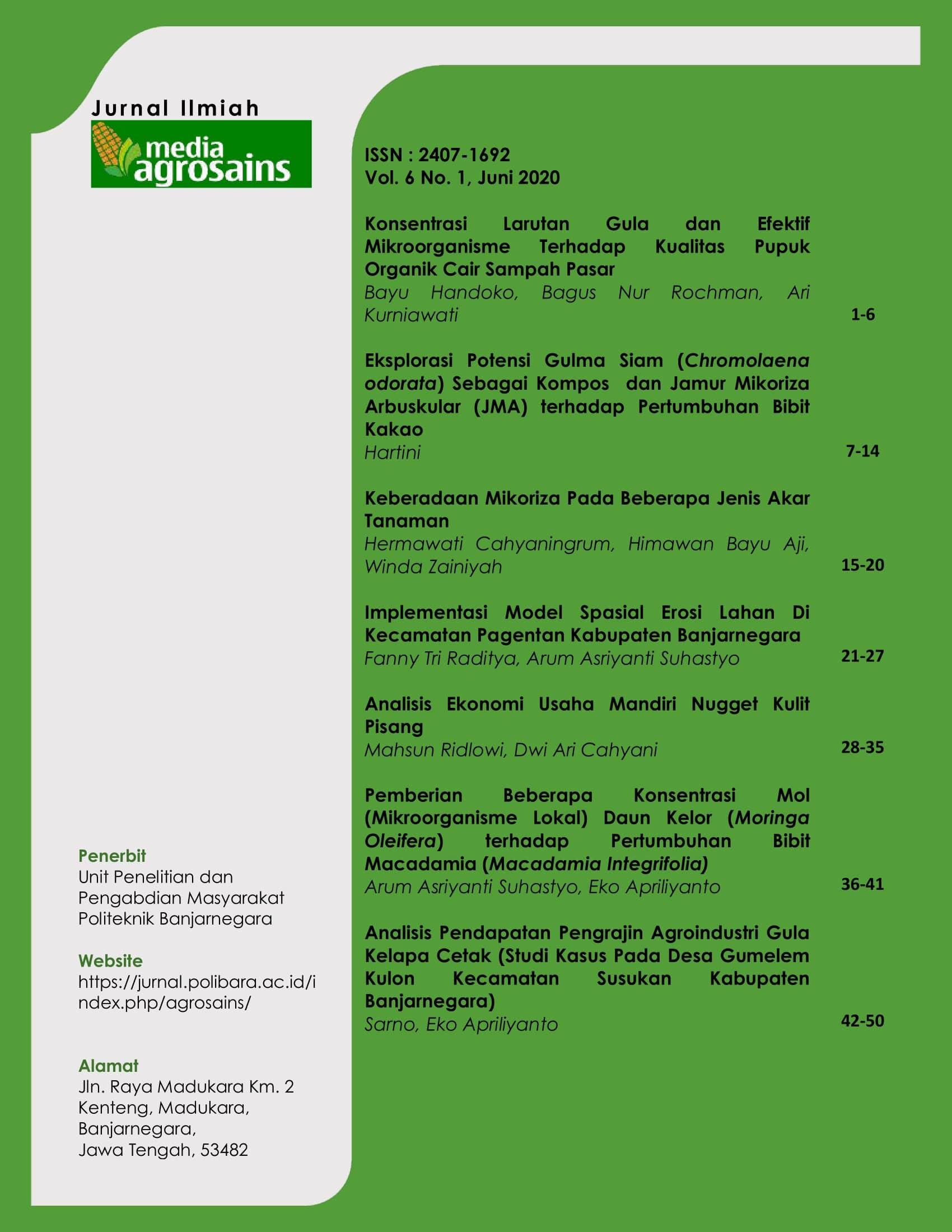 Jurnal Ilmiah Media Agrosains merupakan publikasi tulisan asli yang berkaitan dengan bidang pertanian secara luas, dalam Bahasa Indonesia. Naskah dapat berupa hasil-hasil penelitian mutakhir dan artikel konseptual.